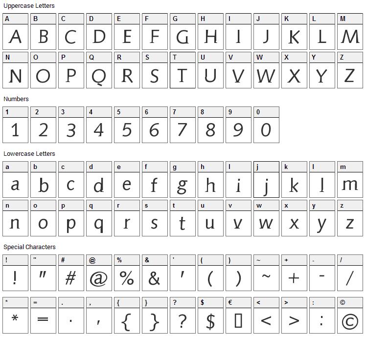 Aida Serif Font Character Map