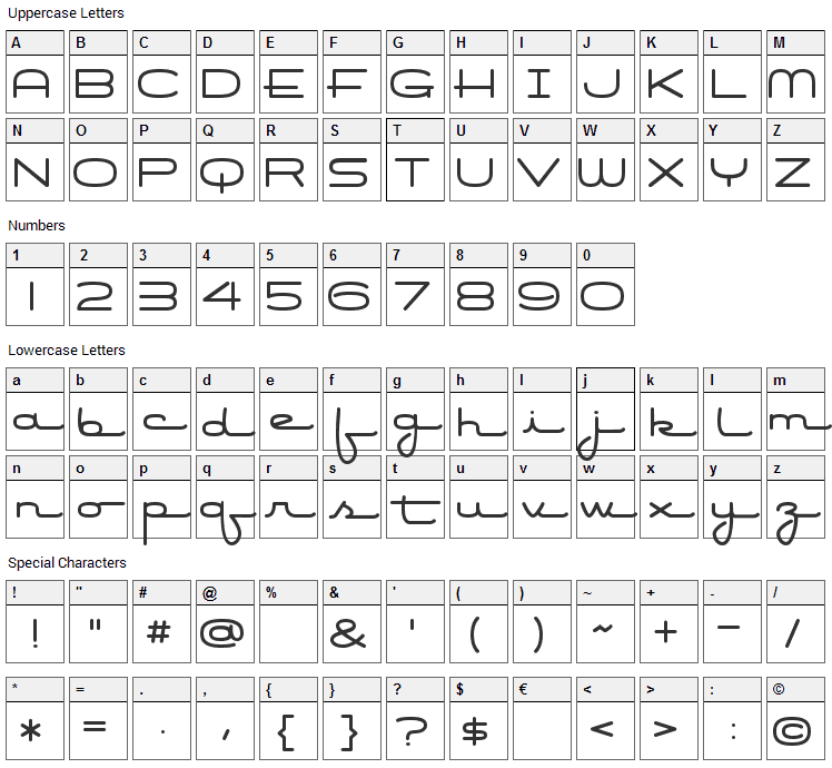 Air Conditioner Font Character Map