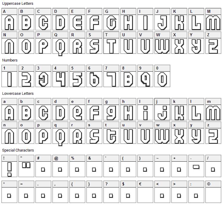 Air Font Character Map