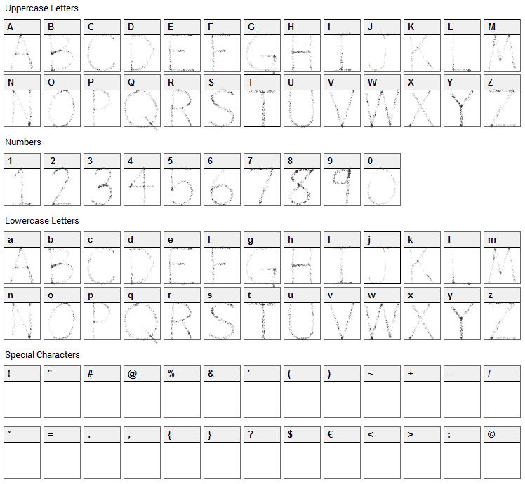 Airbrush Font Character Map