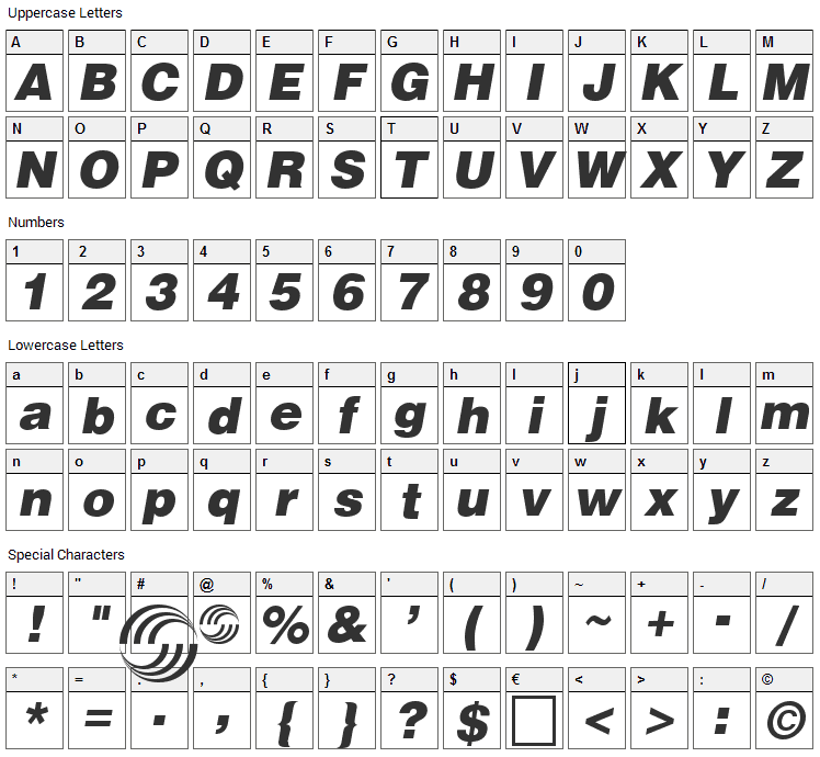 Airbus Font Character Map