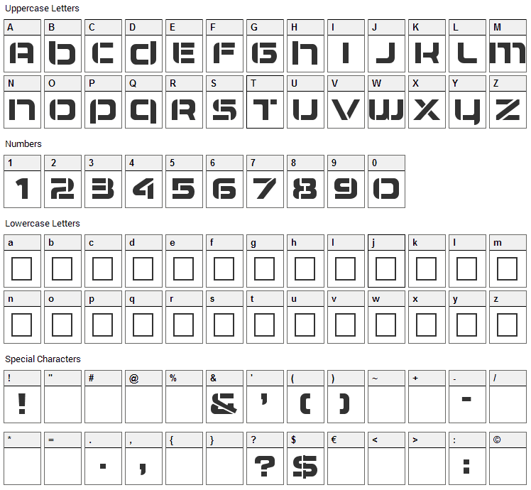 Airlock Font Character Map