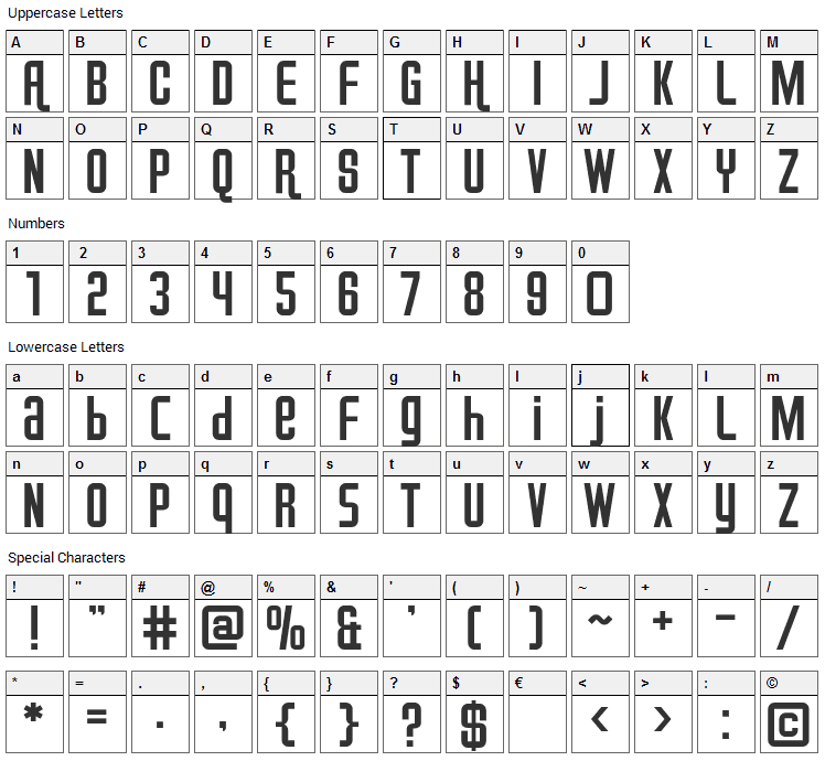 Airport Font Character Map