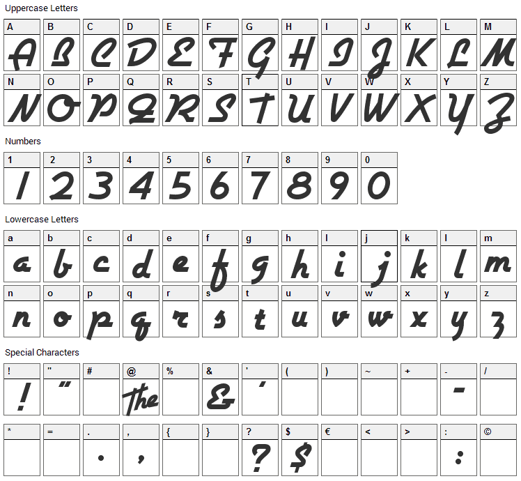 Airstream Font Character Map
