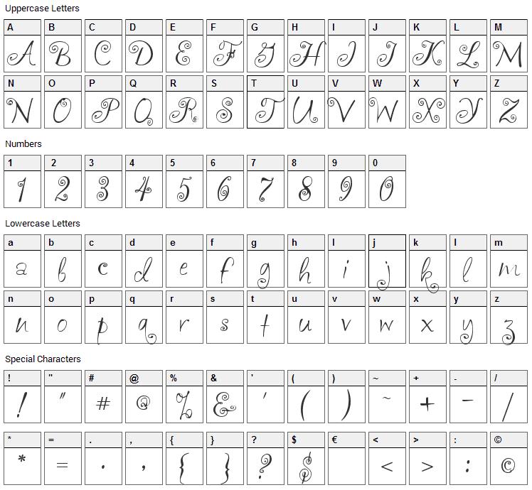 akaFrivolity Font Character Map