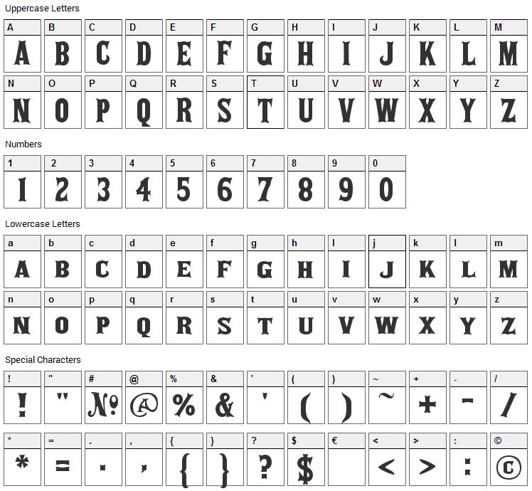 akaPosse Font Character Map