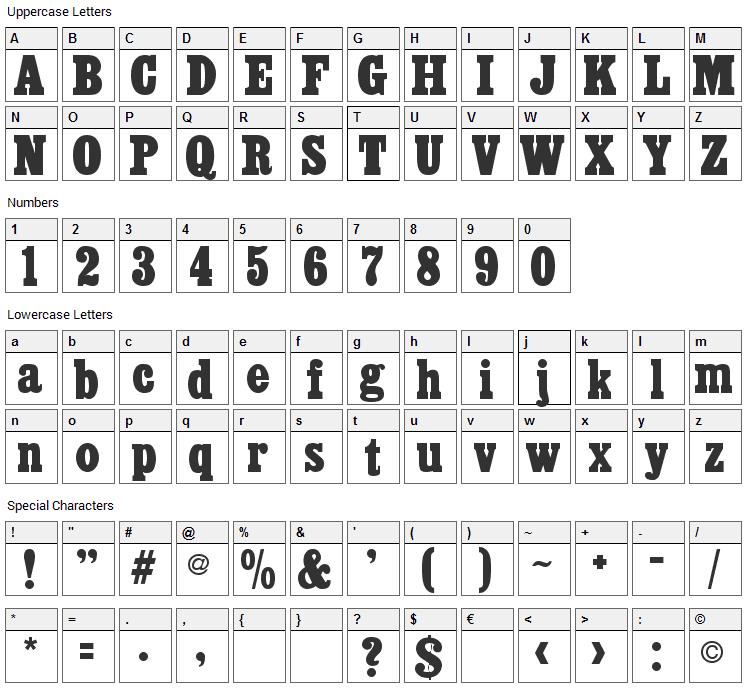 Akenaten Font Character Map