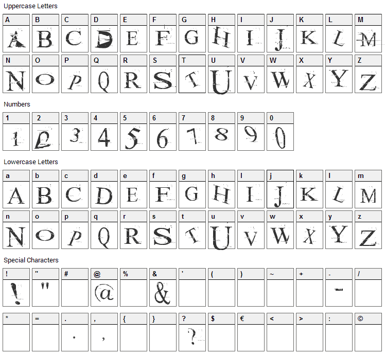Akoom Font Character Map