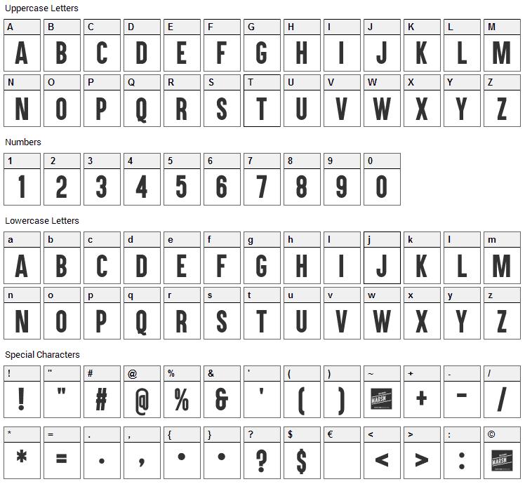 Aku & Kamu Font Character Map