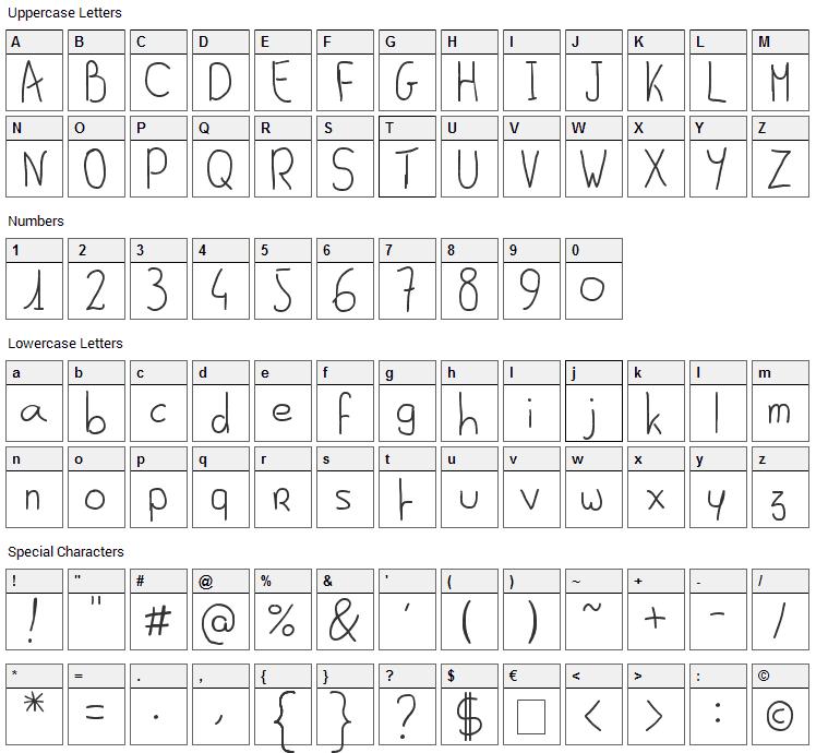 Al Seana Font Character Map