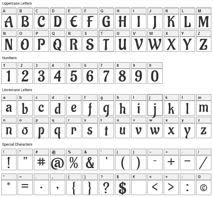 Aladin Font Character Map
