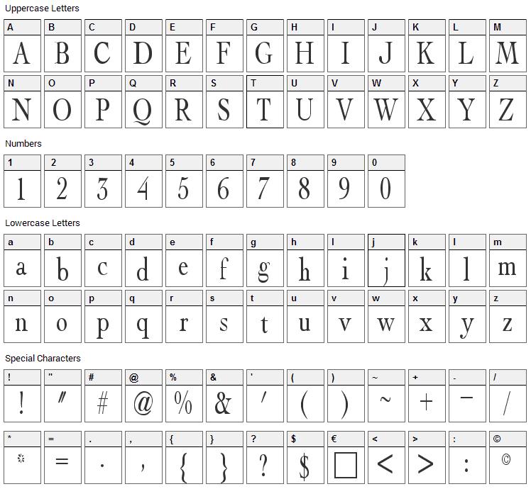 Albatross Font Character Map