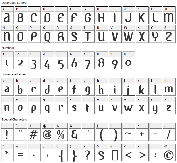 Albino Font Character Map