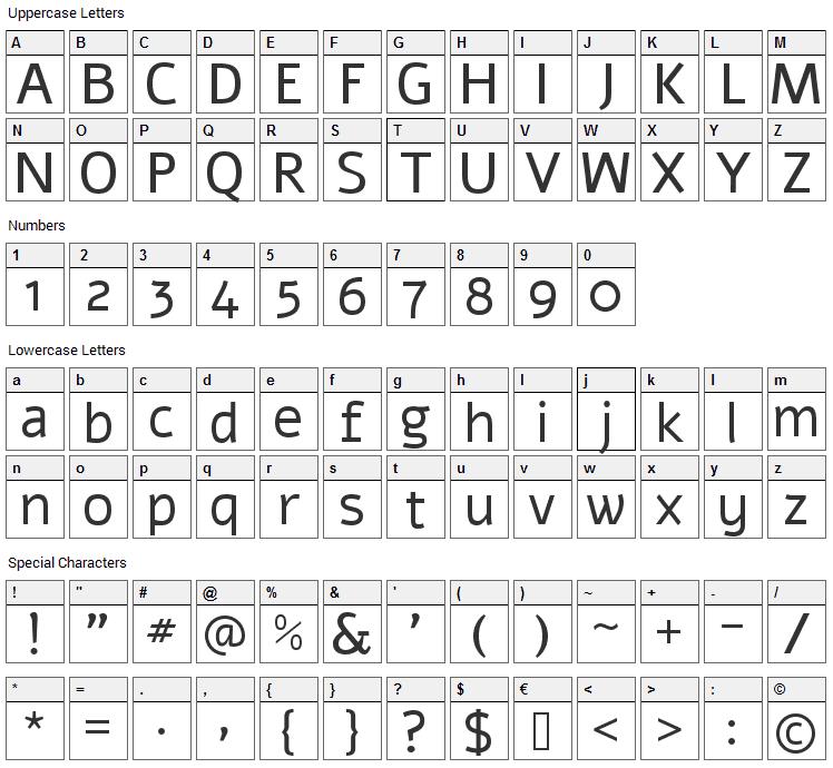 Alef Font Character Map