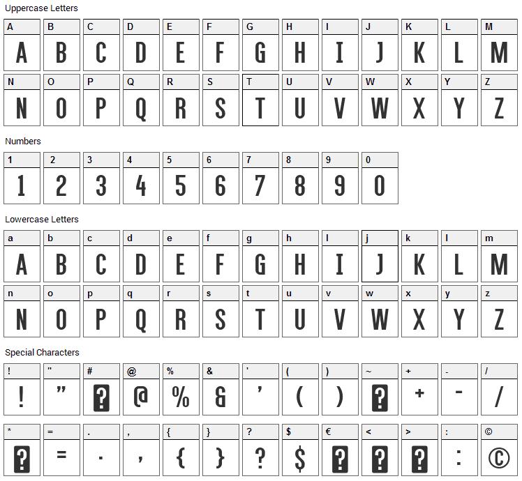 Alegre Sans Font Character Map