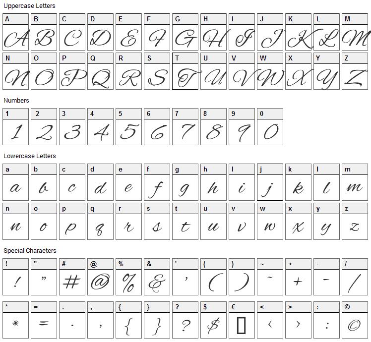Alex Brush Font Character Map