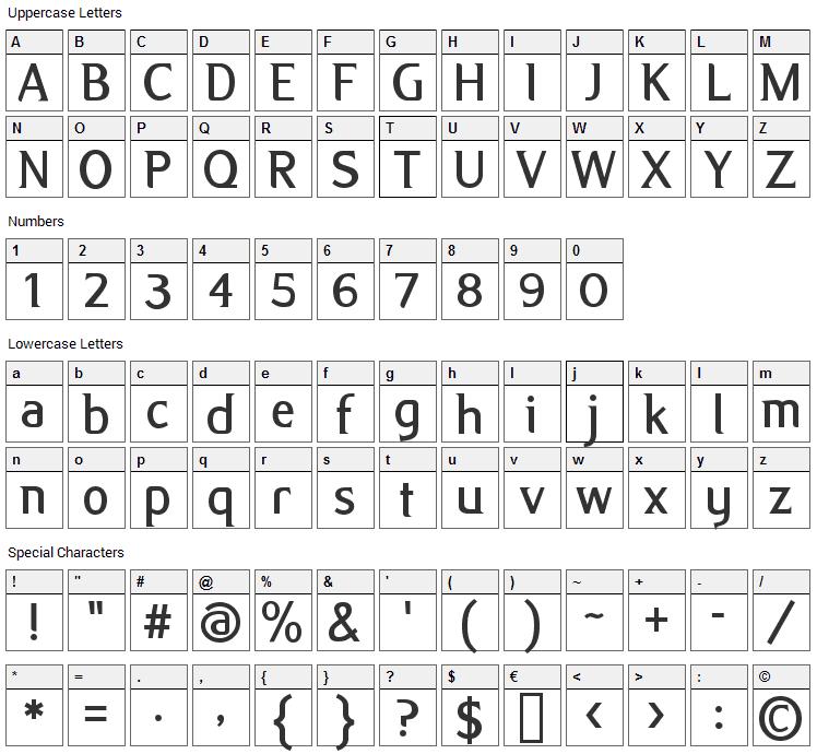 Alex Font Character Map