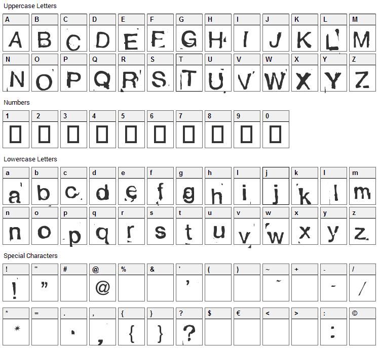 Alexandras Stempelkasten Font Character Map