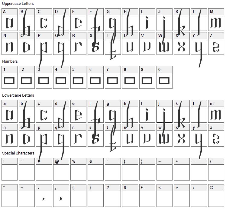 Alfheim Online Magic Spell Font Character Map