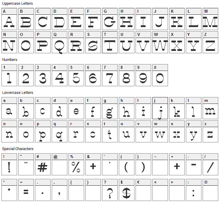 Alfredos Dance Font Character Map