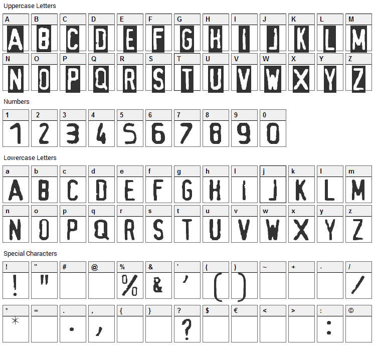 Alias Font Character Map