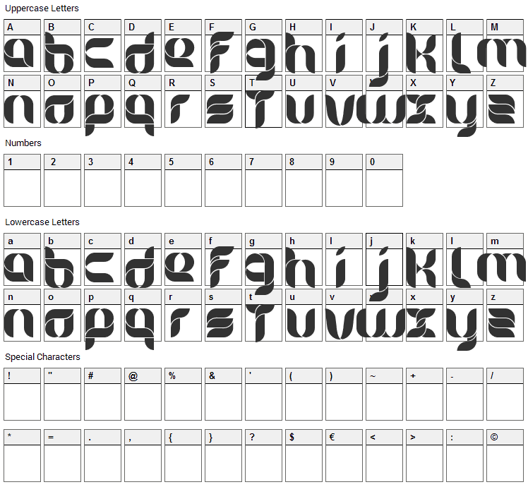 Alice Font Character Map