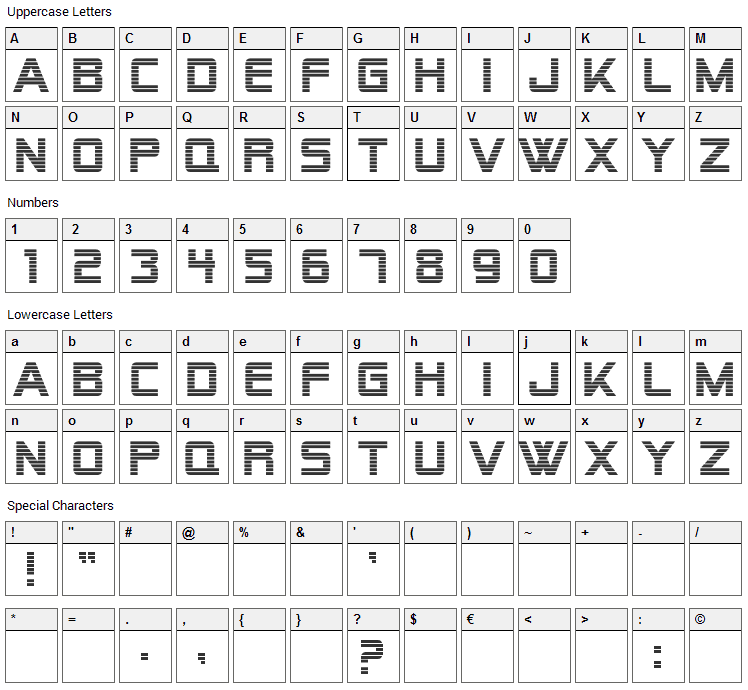 Alien Encounters Font Character Map