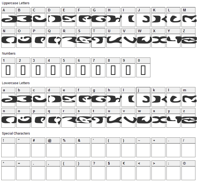 Alien Ghost 2 Font Character Map