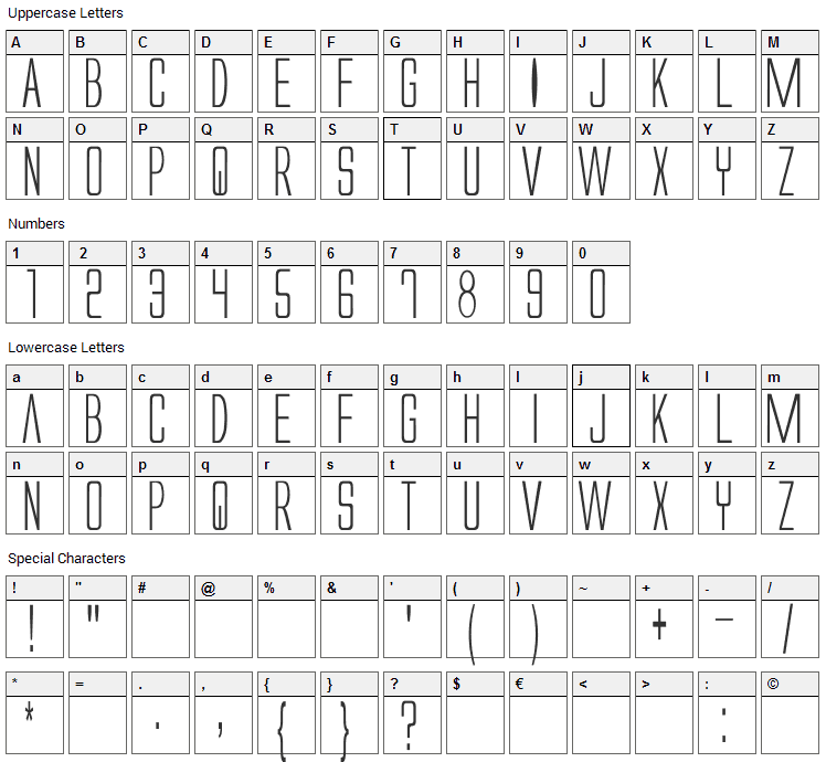 Alien League Font Character Map