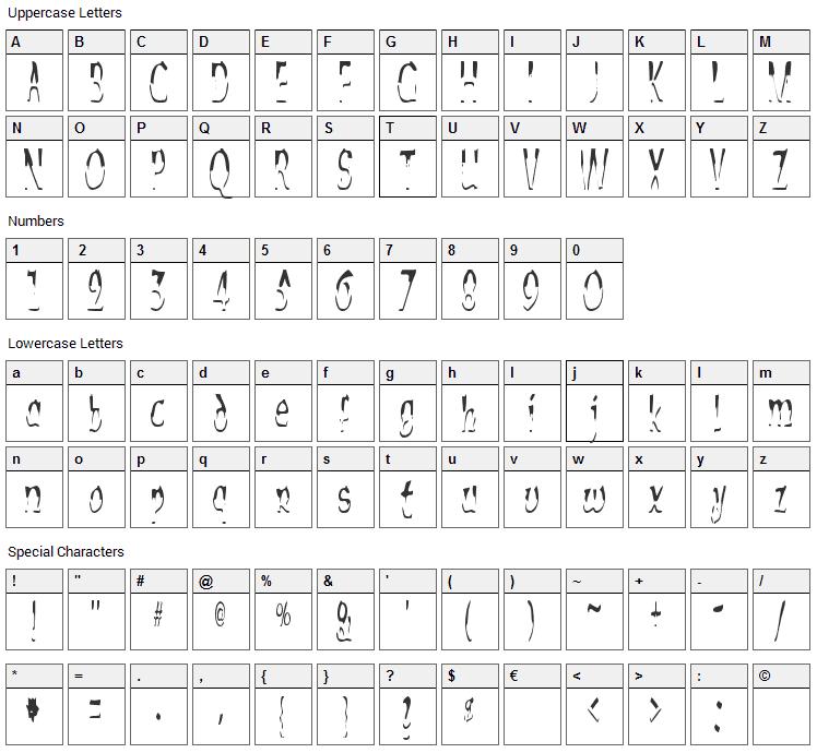 Alien Script Font Character Map