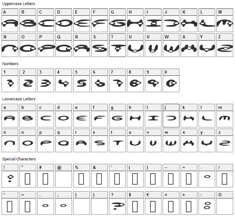 Alienation Font Character Map