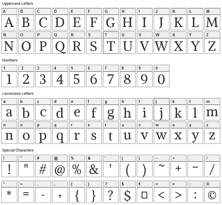 Alike Font Character Map