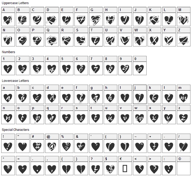 All Hearts Font Character Map