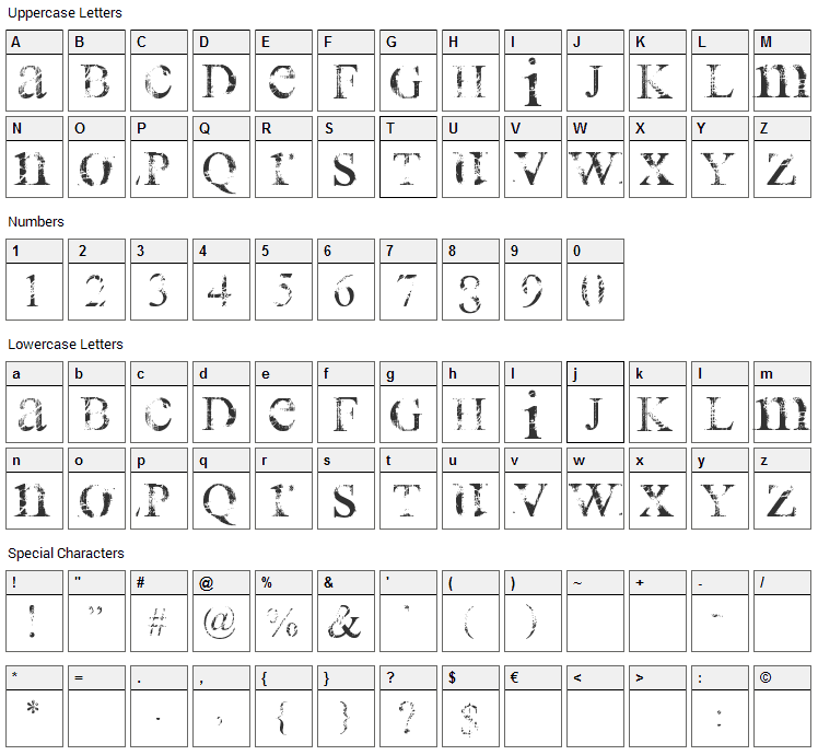 All Used Up Font Character Map