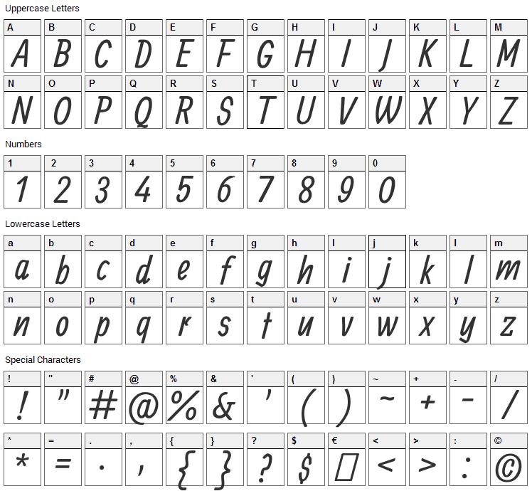 Allan Font Character Map