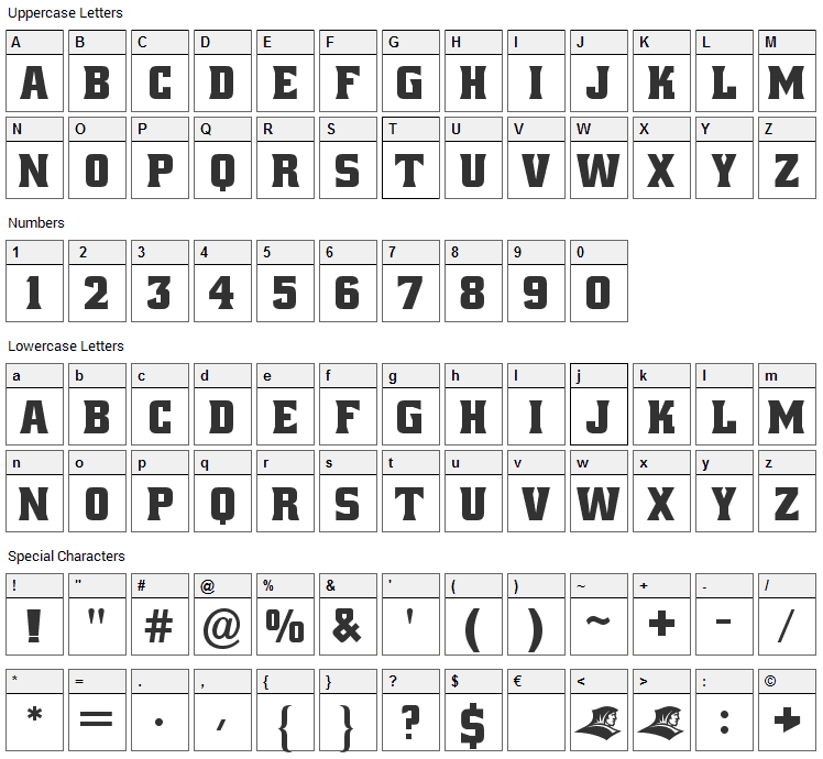 Alley Oop Font Character Map