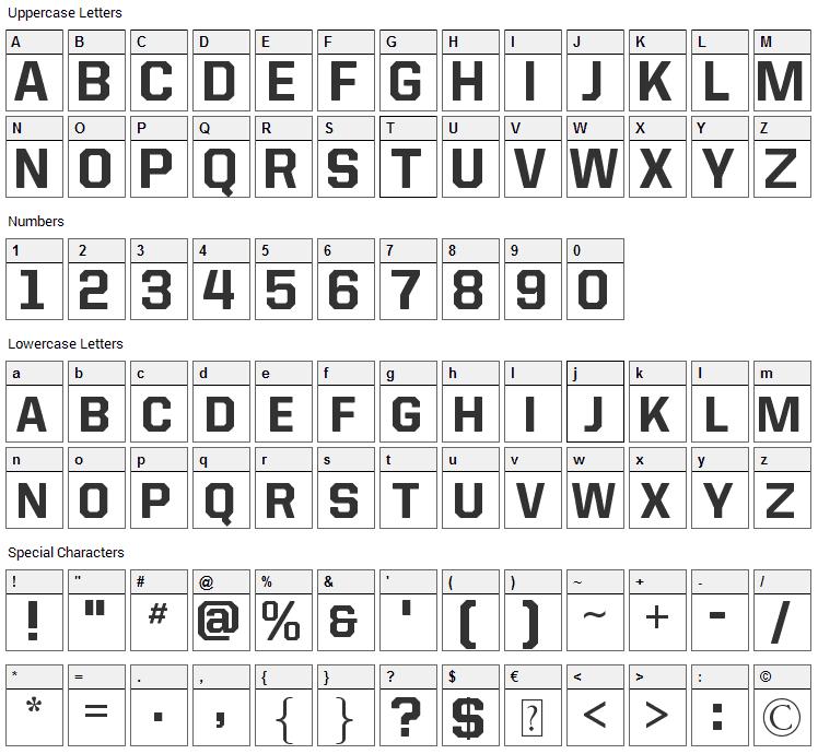 Allstar4 Font Character Map