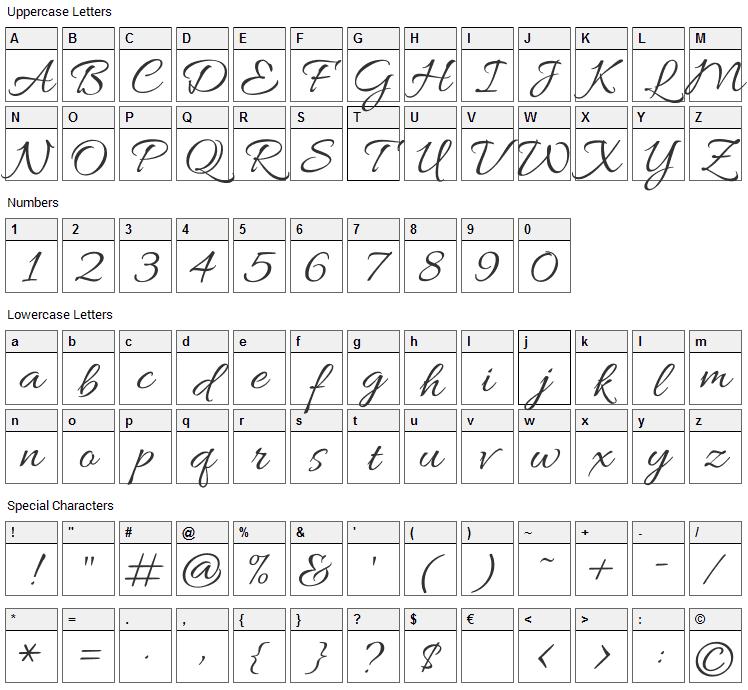 Allura Font Character Map