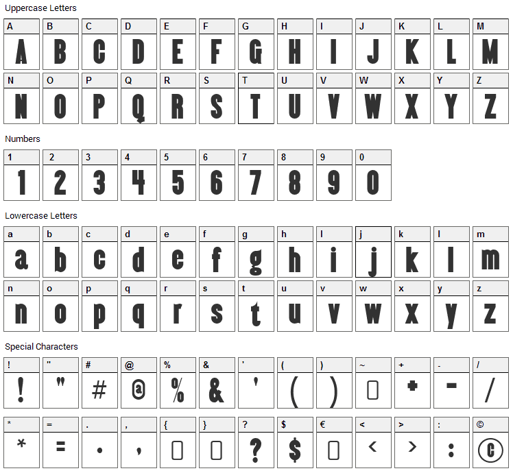 Almonte Font Character Map