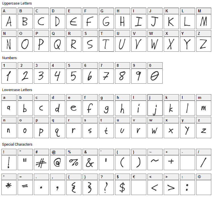 Almost Regular Font Character Map