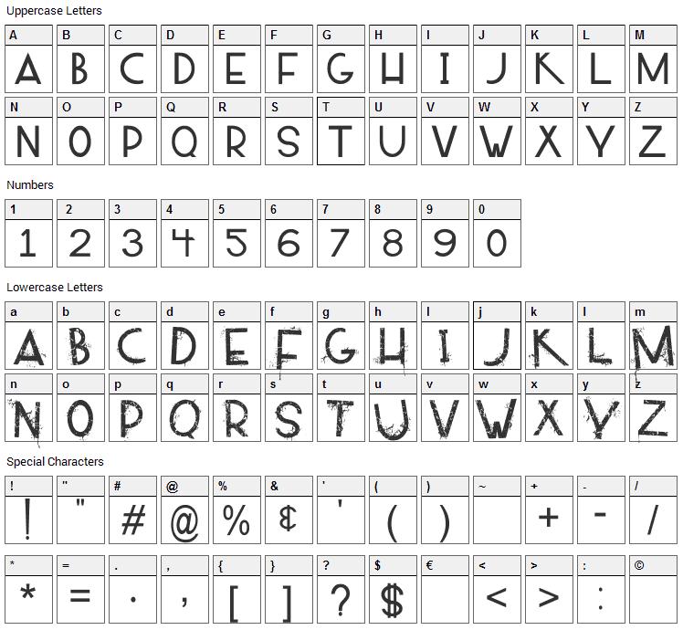 Alpaca 54 Font Character Map