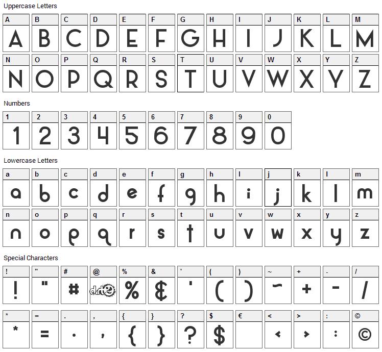 Alpaca Font Character Map