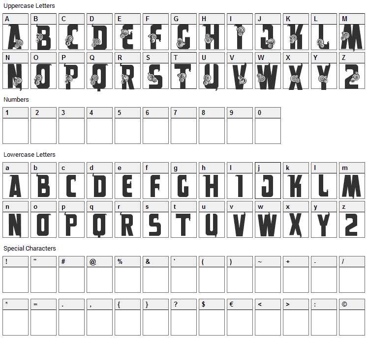 Alpes Font Character Map