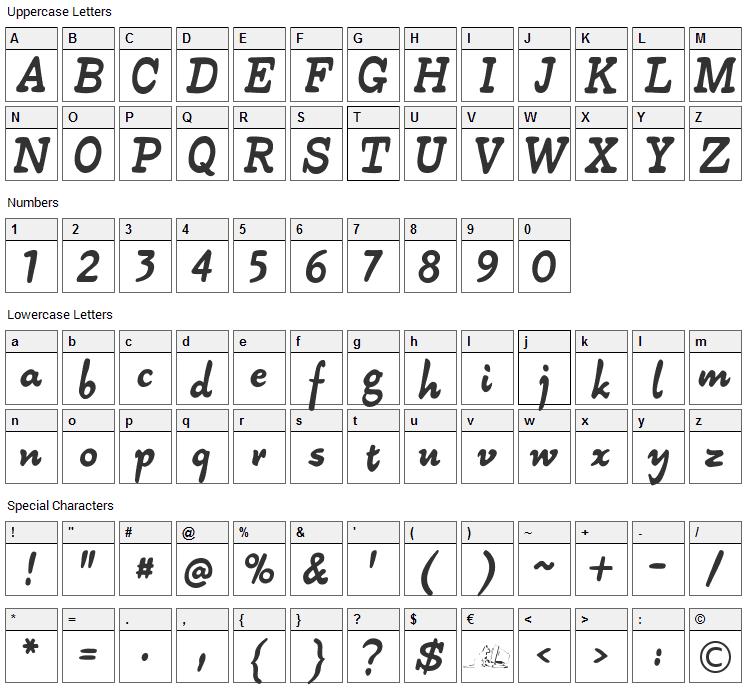 Alpha 54 Font Character Map