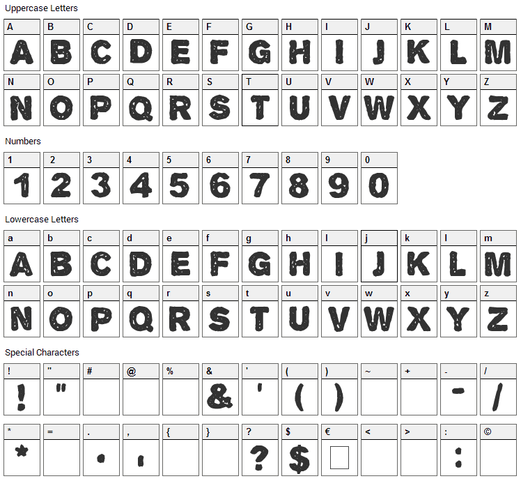 Alpha Echo Font Character Map