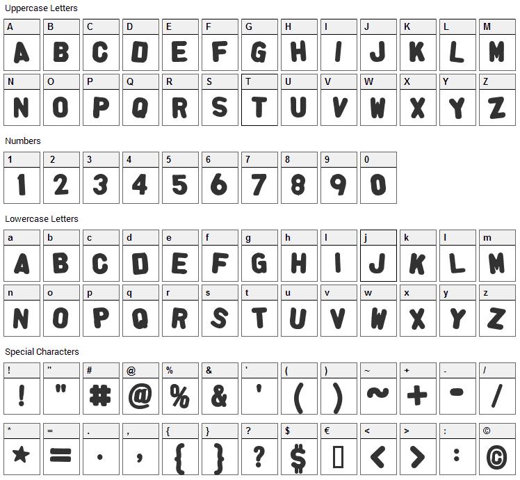 Alpha Fridge Magnets Font Character Map