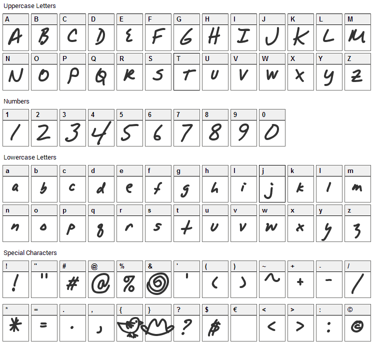 Alpha Mack Font Character Map