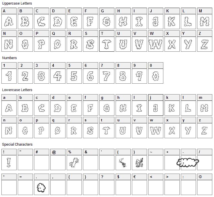 Alpha Smoke Font Character Map