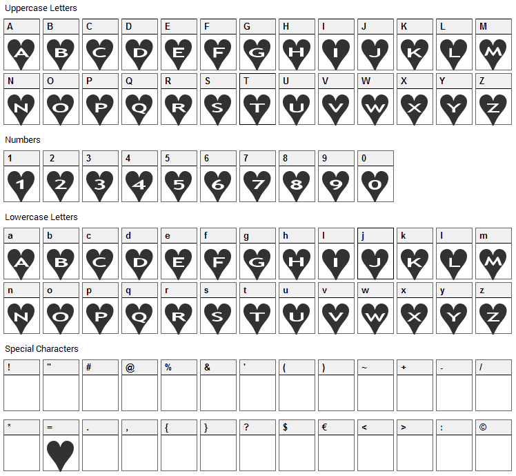 AlphaShapes Hearts Font Character Map