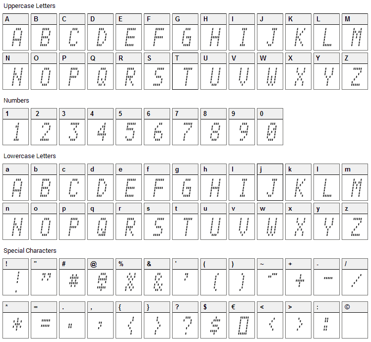 Alpine 7558M Font Character Map